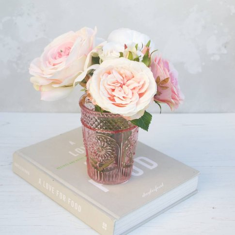 Bouquet Of Roses In Pink Vase, Pink/Blue