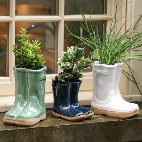 Langthwaite Ceramic Welly Boots Planter Collection