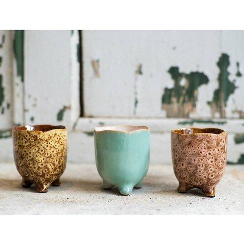 Ceramic Botanical Vase With Feet