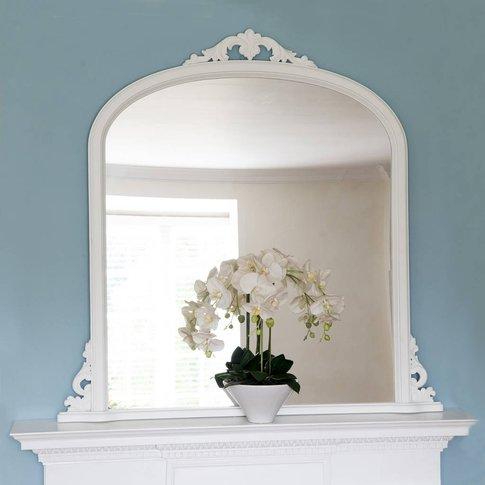 Victoria White Overmantel Mirror, Silver