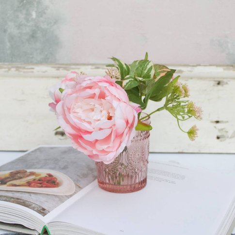 Soft Pink Silk Peony Bouquet In Pink Vase