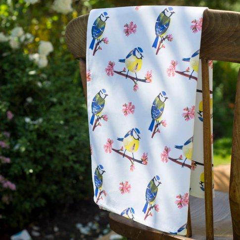 Blue Tit Blossom Organic Cotton Tea Towel, Blue