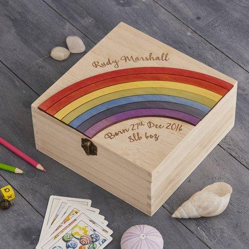 Personalised New Baby Keepsake Rainbow Storage Box