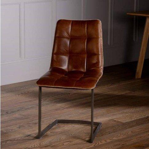 Italian Leather Metal Leg Dining Chair Brown Or Grey...