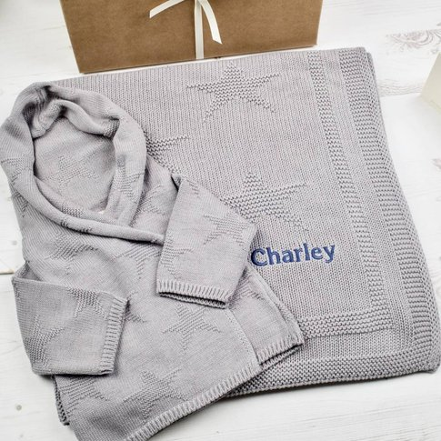 Unisex Hound Grey Star Hoodie And Blanket Gift Set
