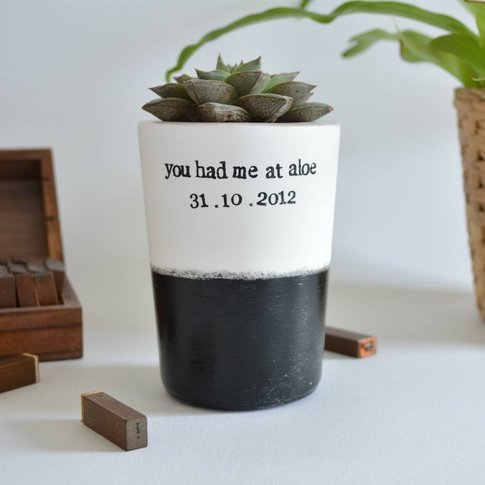 Personalised 'You Had Me At Aloe' Succulent Vase