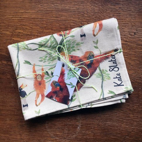Swinging Orangutans Organic Cotton Tea Towel