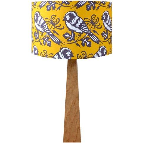 Mustard Birds Wooden Table Lamp