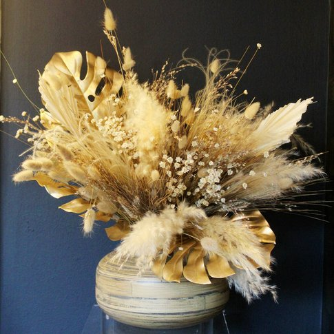Golden Dried Flower Bouquet In Handcrafted Bamboo Vase