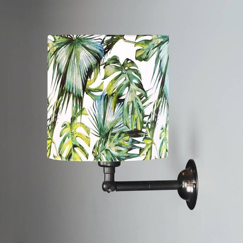 Wall Light With Green And White Tropical Drum Shade