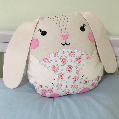 Personalised Pink Rabbit Cushion