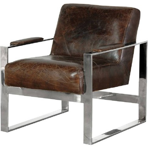 Leather And Stainless Steel Armchair