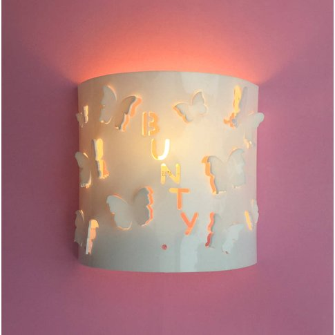 Personalised Butterfly Wall Light, White/Baby Pink/Pink