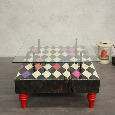 Harlequin Pattern Handcrafted Coffee Table