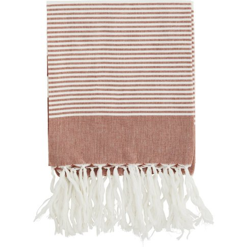 Red Rust Striped Cotton Throw