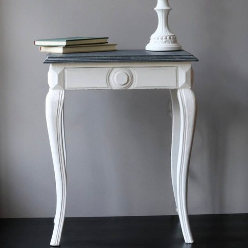 Antique White French Bedside Table
