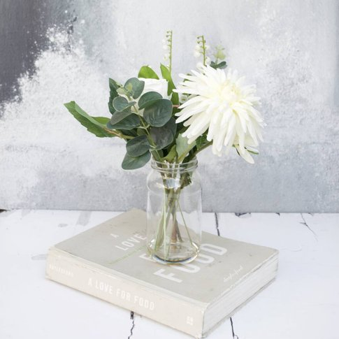 Faux Chrysantheum And Lily Of The Valley In Vase
