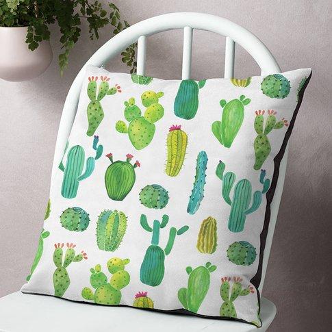 Organic Cotton Or Faux Suede Cactus Cushion