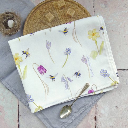 Bee And Spring Flowers Tea Towel