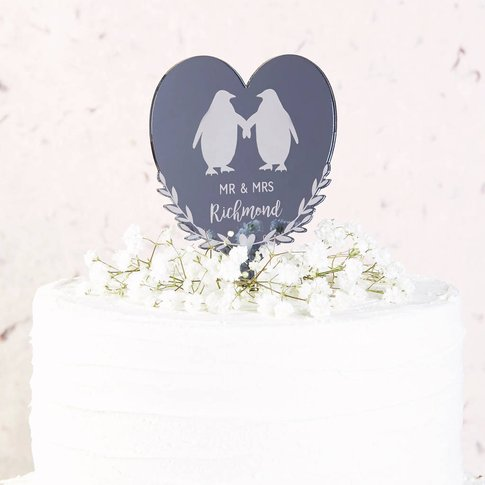 Penguin Heart Wedding Cake Topper Mirror
