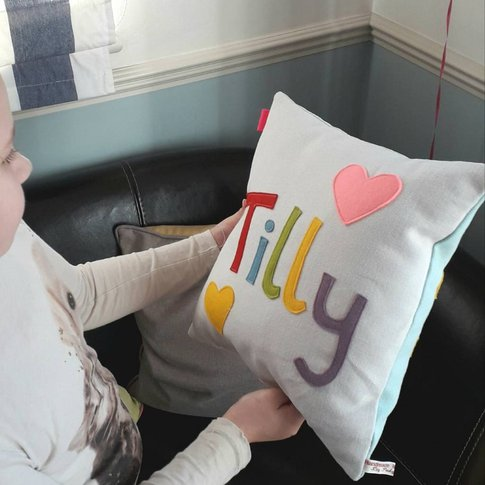 Personalised Double Sided Name And Date Cushion