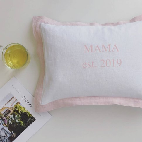 Personalised Mama Est Cushion With French Border