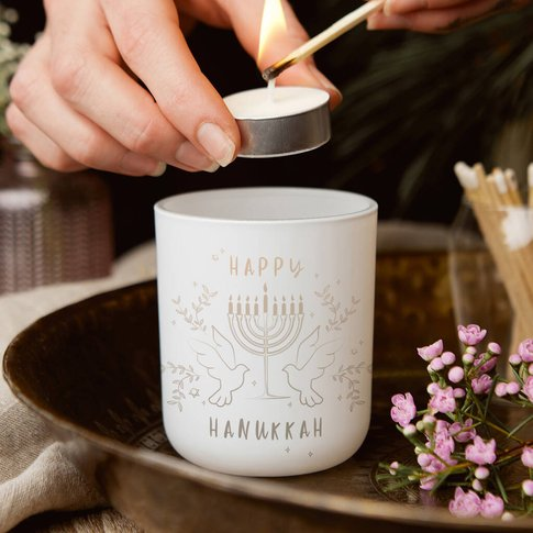 Hanukkah Gift Tealight Holder With Candles