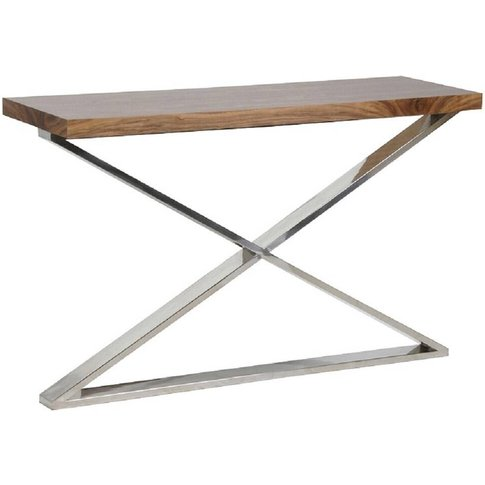 Morcott Walnut Polished Steel X Frame Console Table