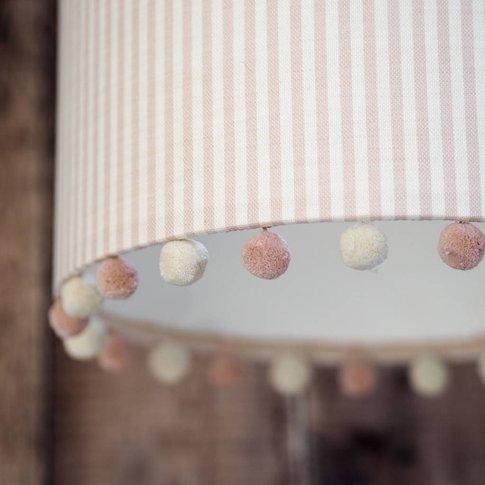 Pink Stripe Linen Pom Pom Lampshade