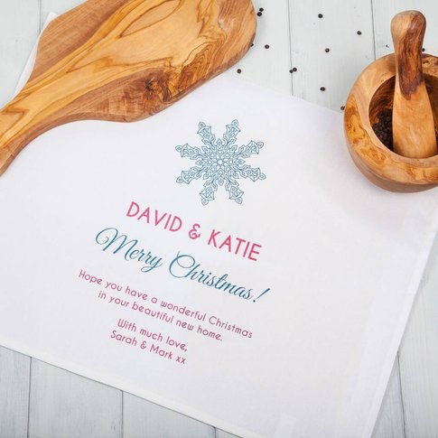 Personalised Cotton Snowflake Christmas Tea Towels