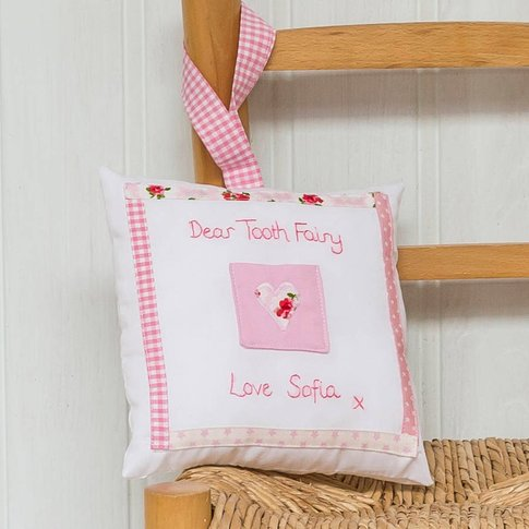 Personalised Heart Design Tooth Fairy Cushion