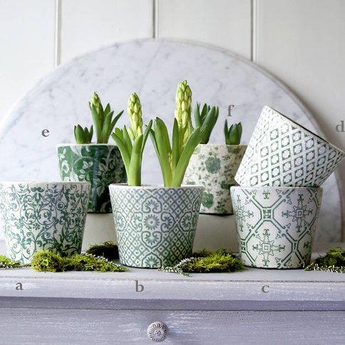 Green Patterned Plant Pot