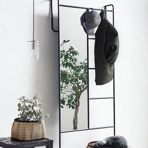 Black Iron Storage Rack With Mirror