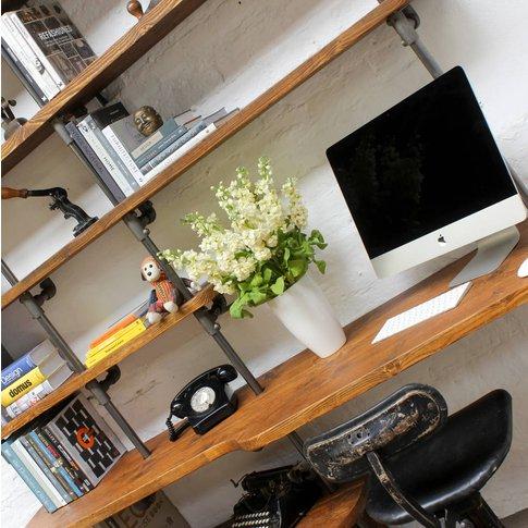 Nita Reclaimed Scaffolding And Pipe Shelving/Desk Unit