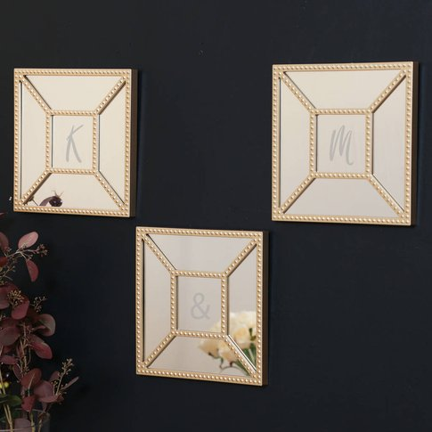 Set Of Three Champagne Gold Wall Mirrors