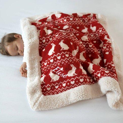 Personalised Red Bunny Sherpa Blanket