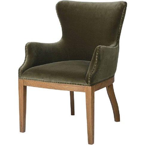 Olive Green Velvet Dining Armchair