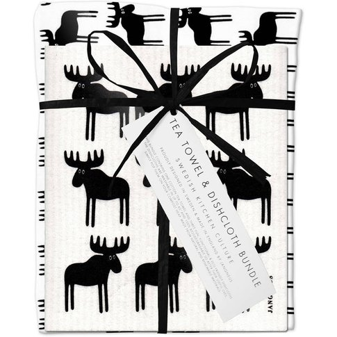 Black Moose Dishcloth And Tea Towel Bundle
