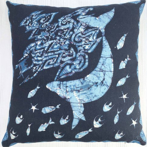 Linen Batik Cushion, Blue Whale, Blue