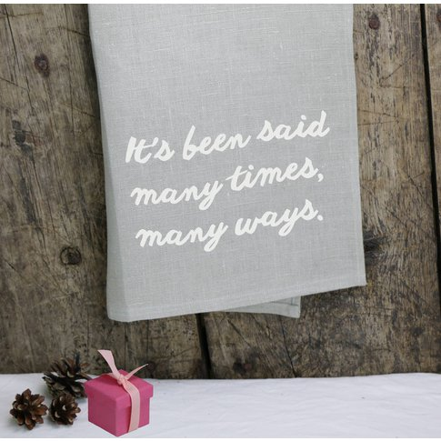 Luxurious Merry Christmas Linen Tea Towel