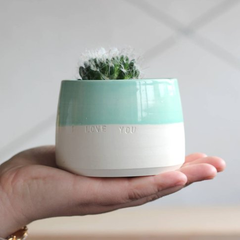 Personalised 'I Love You' Hand Thrown Indoor Plant Pot