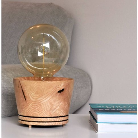 Table Lamp With Edison Bulb Hand Crafted From Ash Wood
