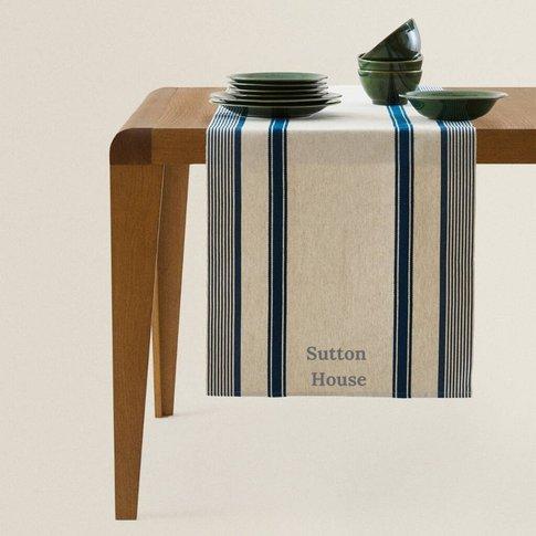Personalised Beige Blue Table Runner