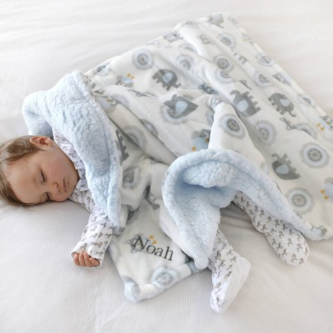 Personalised Blue Elephant And Owl Blanket