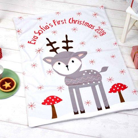 Personalised Christmas Reindeer Luxury Blanket