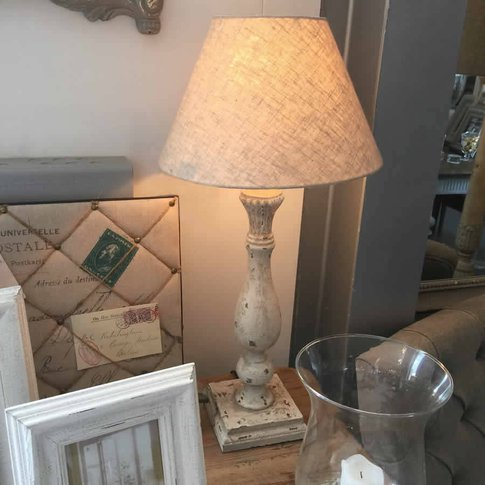 Distressed Pale Grey Table Lamp