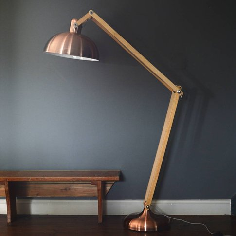 Copper And Wood Floor Lamp, Copper