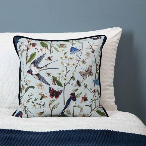 Swallows And Blossom Cushion