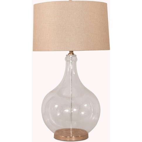 Clifton Bubbled Glass Lamp W/ Grey Herringbone Shade
