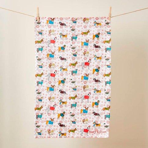 Christmas Canines Tea Towel